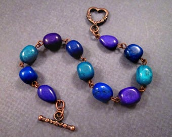 Gemstone Beaded Bracelet, Colorful Magnesite Nuggets, Copper Heart Bracelet, FREE Shipping U.S.