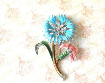 Vintage Trifari Enamel Flowers & Rhinestone Fur Clip - Alfred Philippe, large flower, blue flower, pink flower, rhodium pot metal, crystal