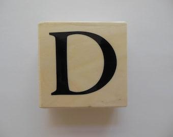 Letter D Rubber Stamp - Autumn Bouquet Collection - Wood Mounted Rubber Stamp - Alphabet Letter D Stamp