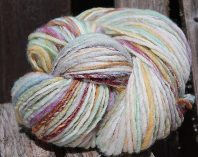 Handspun and dyed Falkland yarn. Next to skin soft. Appx,.4oz /248 yards. Worsted Weight. F166