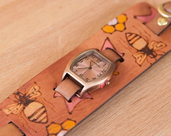 """Cuff Watch - Womens 2"""" Wide Leather Cuff Watch with Bees and Flowers - Handmade in the Meadow pattern in yellow, gold and antique mahogany"""