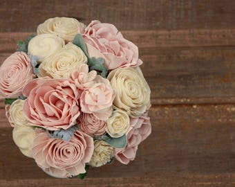 Blush pink wedding bouquet, sola wood flower bouquet, wooden flowers, blush wedding bouquet, eco flowers, paper flower, ecoflower bouquet