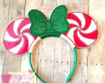 Peppermint Swirl Mouse Ears ~ Embroidered Christmas Ears ~ Miss Mouse Peppermint Christmas Ears