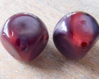 Vintage German Rare Opalescent Purple & Red Givre Cube Diagonal Glass Beads - 13mm - Pair
