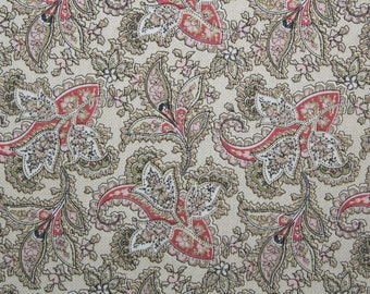 Paisley Fabric, Sewing Fabric, Quilting Fabric, Quilt Fabric, Cotton Fabric, Fabric By the Yard, Fat Quarter, Red Rooster Fabric