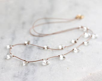 White topaz necklace - white topaz briolettes knotted on beige nylon cord  - 14k gold filled clasp - April birthstone - white topaz jewelry