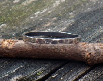 20% OFF Today Hammered sterling silver stacking ring