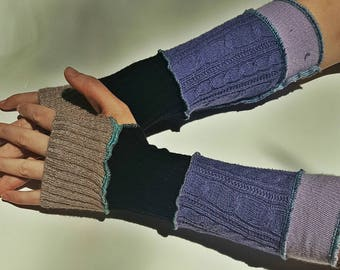 patchwork recycled sweater arm warmers - purple, black