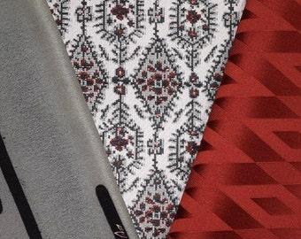 Vintage Japanese Kimono Fabric Bundle 3 Sleeve Mix Crafting - Grays and Reds