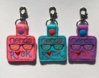 Embroidered Nerds Keychain, Key fob