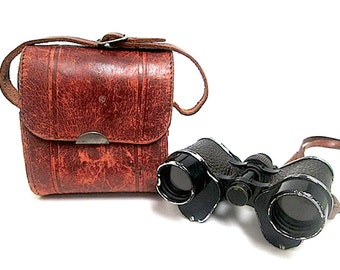 Antique WW1 Military 8x22 Binoculars with Leather Case