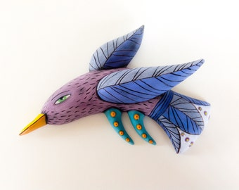 Lilac Bird with Blue Wings