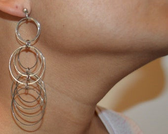 Hanging Rings Earrings, Dangle Pierced, Post back, Hoops, Chandelier, Light weight, Modern, Cascade Unique Entwined, Extra Long, 1970's
