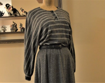 80's True  Batwing  Dress,sz. Large R & K KNITS Originals,With Woven Leather Belt,Grey White Stripe, Comfortable soft knit 100% Acrylic