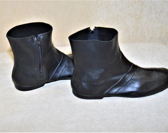 Galoshes, Black Men's Rubber Boots Overshoes,Waterproof,Rain,Sleet,Totes Rubbers Unisex , Zipper Side Size XXL or Men's 10-11,Made in USA