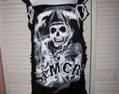 Clearance items 70% off - black SAMCRO Sons of Anarchy motorcycle club inspired shredded off shoulder t shirt tank top tunic micro mini dres