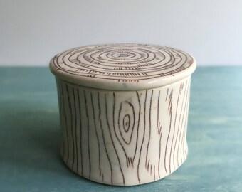 Salt Box | Trinket Box | Small Jar | Porcelain Jar | Ceramic Jar | Faux Bois Jar | Handmade Jar | Rustic style | Coastal Decor