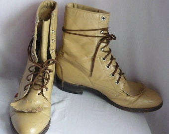 Ladies Size 10 Leather High Top Ankle Boots / Mens sz 8 .5 D Eu 42 / Lace Up Oxford Granny Combat Rockabilly Boot / Beige Sand JUSTIN GS