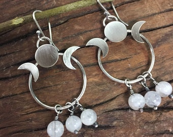 Moonstone and Moon Phases Earrings Made To Order