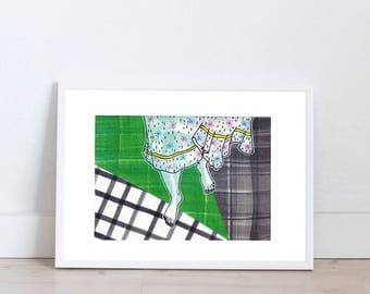 Art prints by Marta Fofi, barefoot, art print, wall art prints,  illustration, illustration print, poster