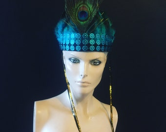 Blue peacock Feather Head Dress Feather Crown Head Piece Festival Sequin Turquoise