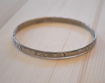 Bangle Bracelet, Sterling Bangle, Mexico Bangle, Tribal Bracelet, Silver Bracelet, Vintage Mexico Bracelet, Sterling Stamped Bangle