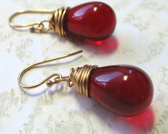 Earrings red  czech glass teardrop beads with gold wire wrapping