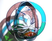 Peace Pond - Stained Glass 3D Sphere - Medium Waterlily Lotus Flower Koi Fish Pond Nature Scene Suncatcher Buddha Crystal (READY TO SHIP)