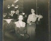 vintage photo 1910 Kitchen by Firelight Girl Woman teen Boy