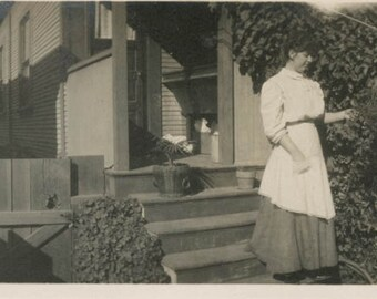 vintage photo 1913 WOman BAck Porch APron Tends Flowers PAnorama