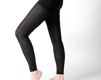 LAST ONE Sheer black leggings, Losange patterned black mesh leggins, Women leggings, Womens clothing, MALAM