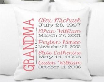 Personalized Grandkids Pillow, Grandma Pillow, Grandpa Pillow, Grandkids Gift, Nana, Personalized Memaw Pillow