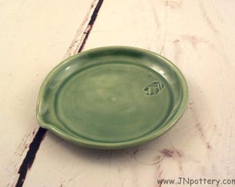 Stoneware Spoon Rest - Handmade Ceramic Kitchen Coaster - Pottery Cooks Tool - Trinket Dish - Ready to Ship - Celadon Spring Green h478