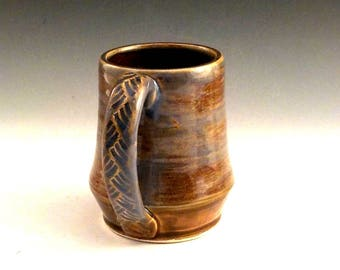 Stoneware Coffee Mug - Ceramic Beer Vessel - Iron Brown and Rutile Blue - Dad Gift - Country Rustic - Ready to Ship - Handmade Pottery m287