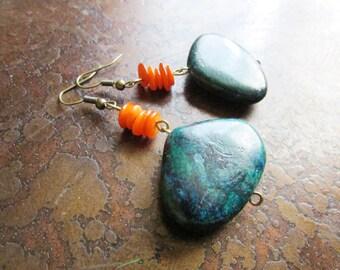 Deep Side Glass and Yellow Turquoise Beaded Dangle earrings