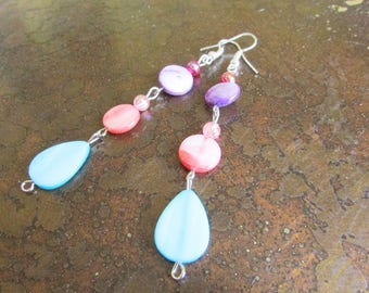 Colorburst Mother of Pearl and Acrylic Beaded Dangle earrings