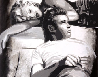 """Marilyn Monroe and James Dean signed 18x24"""" Art on canvas giclee"""