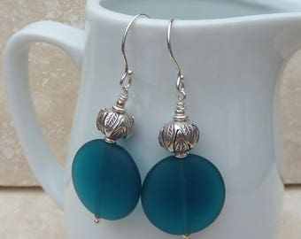 Teal Blue Sea Glass and Silver Bead Earrings  - GEM021 - Handmade, Jewellery, Jewelry, Gift, Present, For Her
