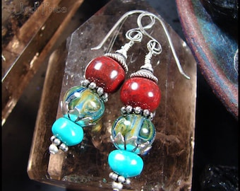 Beadworx - Lampwork and Sterling Earrings - Earth Stones