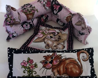 Cat Hot/Cold Pack, Eye Pillow  and Mini Hot/Cold Pack Set,CAt Themed  Organic French Lavender and Flax Seed Coordinating Set, Set of 3