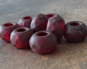 Ruby Matte Picasso 12mm Czech Glass Roller Bead : 8 pc Red Matte Large Hole Bead