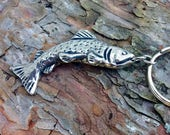 Trout Keychain, Handcast Pewter Fish, Fisherman Gift, Fly Fishing Gift, Angler Key Fob, Gift for Him, Trout Keyring