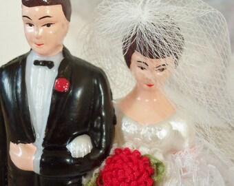 Vintage / Wedding Cake Topper / Bride and Groom / DIY / Bridal Shower Cake Decoration / Applique Bouquet / Black Tuxedo