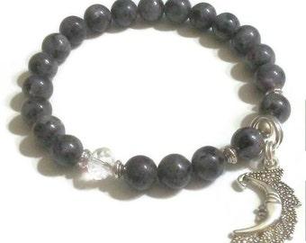 Black Labradorite crystal accent Moon charm bracelet