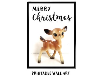 Christmas Deer Print Wall Art Printable Greeting Card Holiday Digital Download Vintage Deer 5x7 8x10 A4 A5