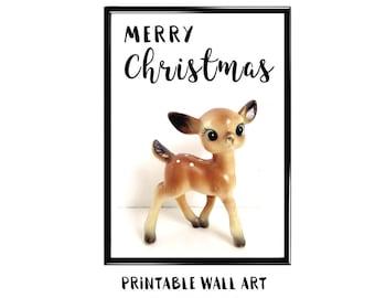 Christmas Deer Print Wall Art Printable Greeting Card Holiday Digital Download Vintage Deer 5x7 8x10 A4 A5