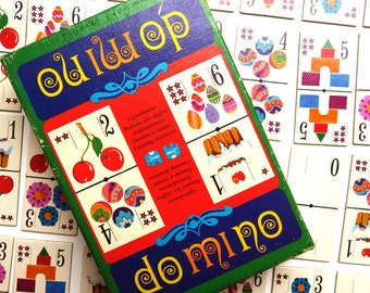 Vintage 1970s Domino Card Game - Dutch 70s Jumbo Childrens Number Dominoes Toy w Box - 28 Easter picture cards