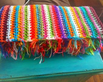 Crochet Blanket Double Strand Single Stripe half double crochet stitch afghan 60 x 40