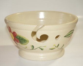 Hand Carved Flowers hand thrown ceramic stoneware yarn Bowl