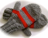 Reserved for Alison, Mittens, Gray with Stripes
